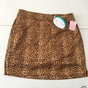 GREG NORMAN Leopard Print Mini Skirt w/ Pockets S